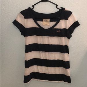 Hollister navy blue and white Tee Small